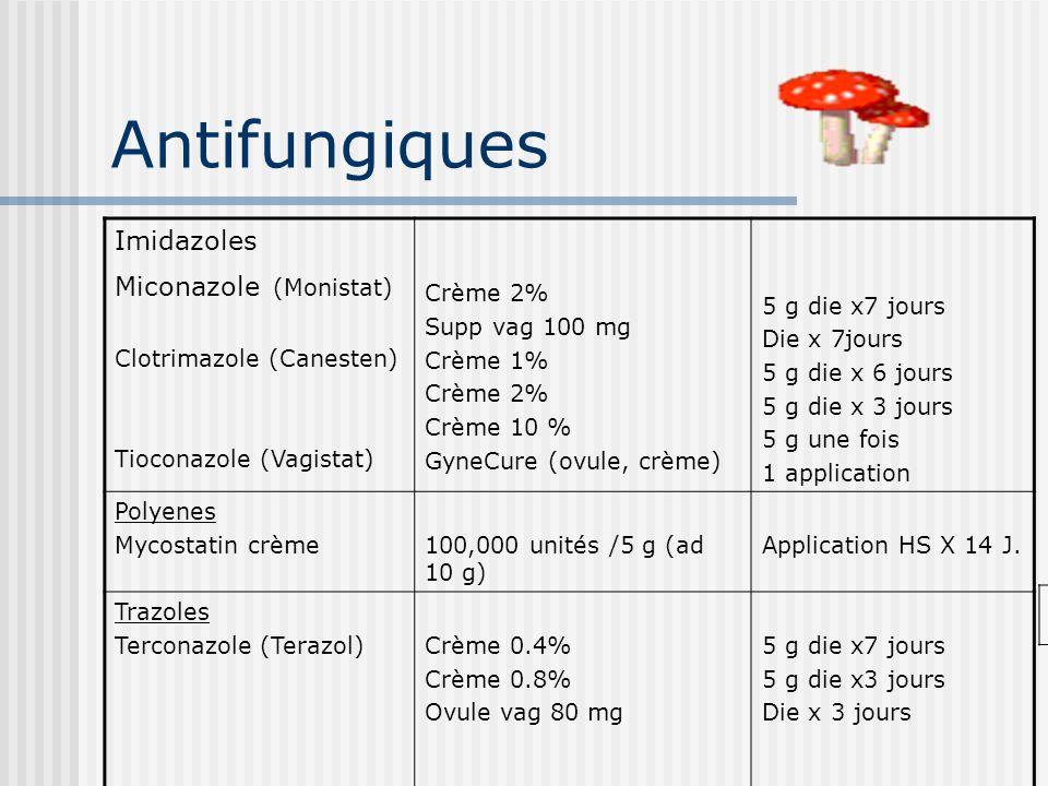 Antifungiques Imidazoles Miconazole (Monistat) Clotrimazole (Canesten) Tioconazole (Vagistat) Crème 2% Supp vag 100 mg Crème 1% Crème 2% Crème 10 % Gy