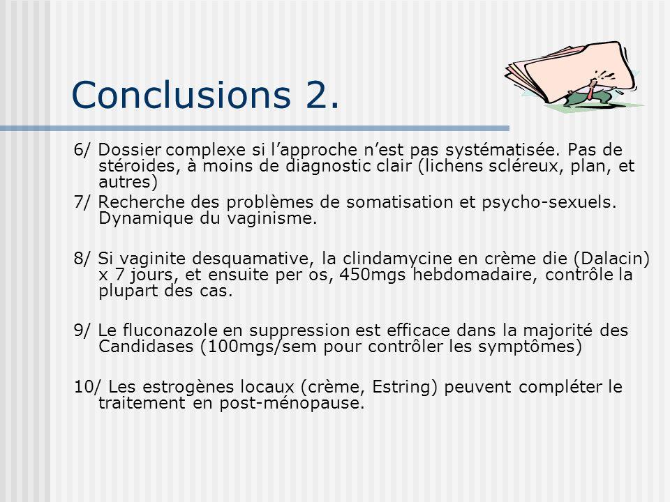 Conclusions 2. 6/ Dossier complexe si lapproche nest pas systématisée. Pas de stéroides, à moins de diagnostic clair (lichens scléreux, plan, et autre