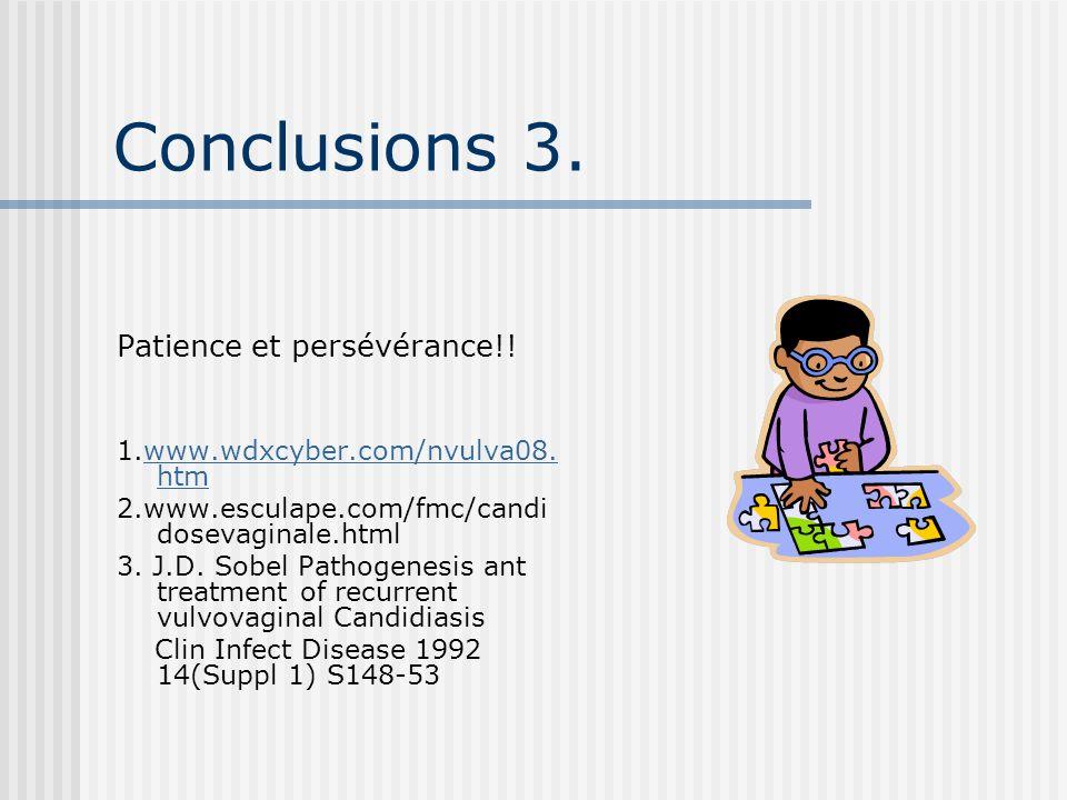 Conclusions 3. Patience et persévérance!! 1.www.wdxcyber.com/nvulva08. htmwww.wdxcyber.com/nvulva08. htm 2.www.esculape.com/fmc/candi dosevaginale.htm