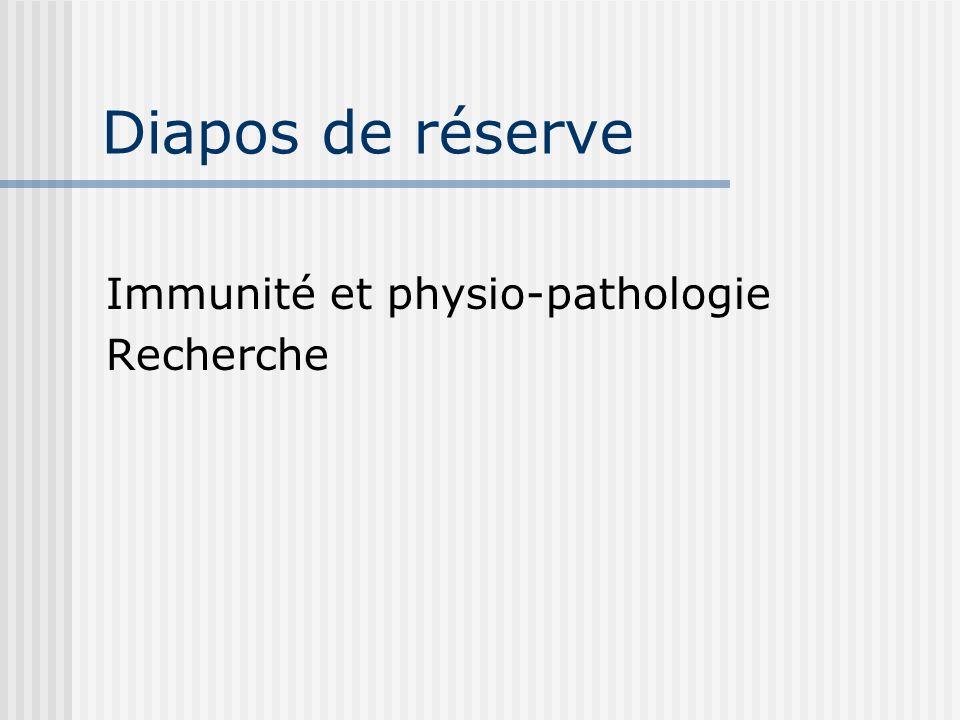 Diapos de réserve Immunité et physio-pathologie Recherche