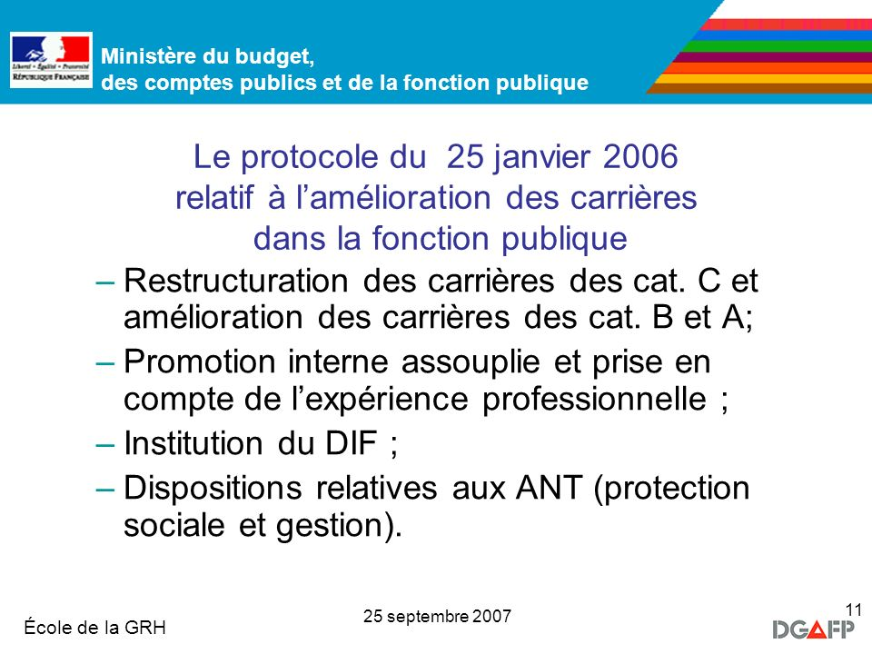 Ministère de la Fonction publique École de la GRH Ministère du budget, des comptes publics et de la fonction publique 25 septembre 2007 11 Le protocol