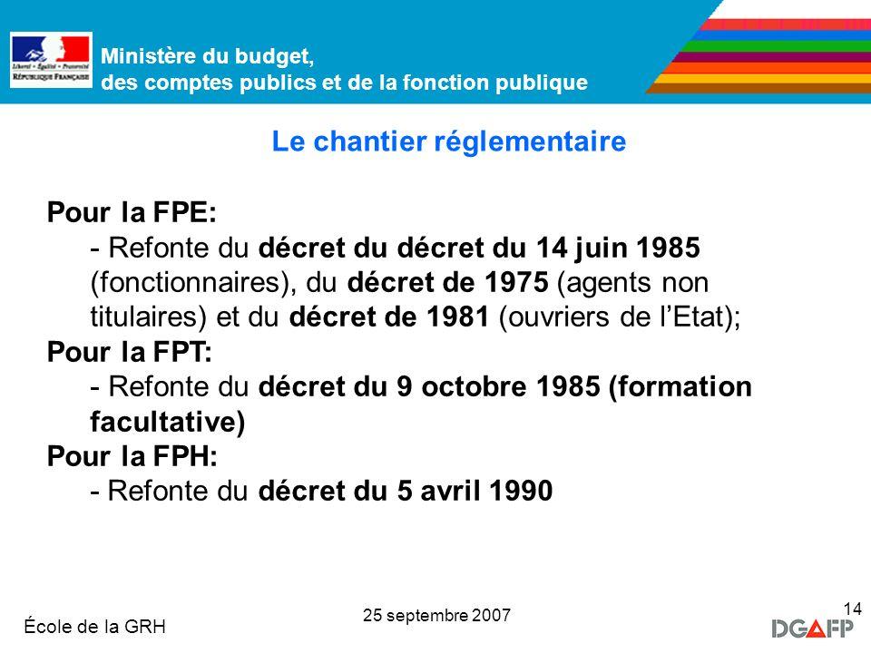 Ministère de la Fonction publique École de la GRH Ministère du budget, des comptes publics et de la fonction publique 25 septembre 2007 14 Pour la FPE