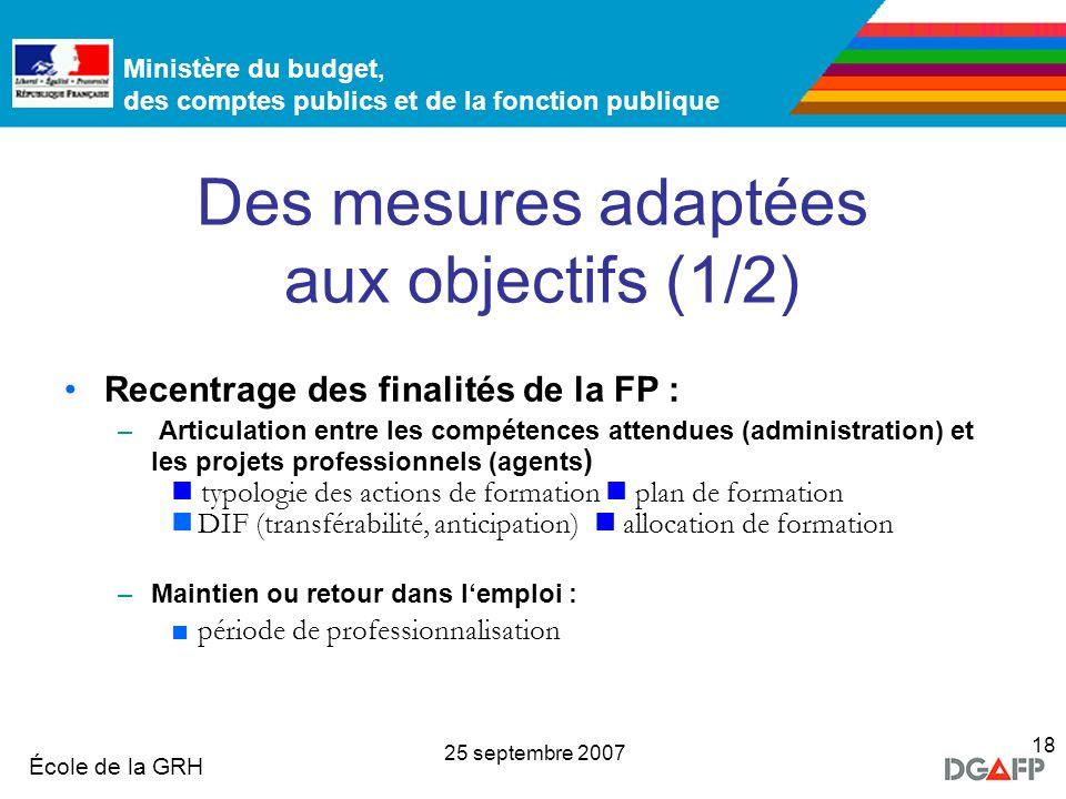 Ministère de la Fonction publique École de la GRH Ministère du budget, des comptes publics et de la fonction publique 25 septembre 2007 18 Des mesures