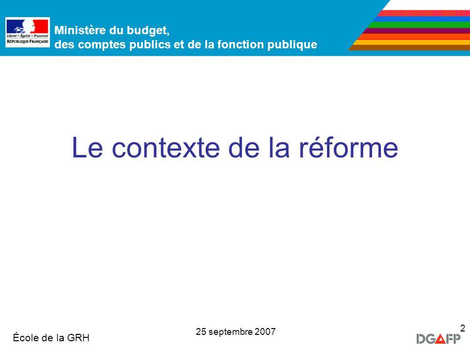 Ministère de la Fonction publique École de la GRH Ministère du budget, des comptes publics et de la fonction publique 25 septembre 2007 2 Le contexte