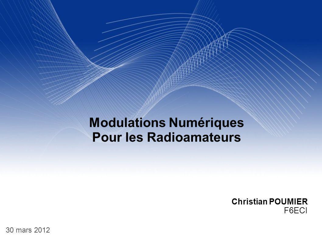 12 MODULATION MDA ( On Off shit Keying) Constellation La modulation MDA2 est assimilable a une modulation de phase à 180° La CW utilise une modulation MDA asymétrique puisque un 1 correspond à une porteuse et 0 absence de porteuse