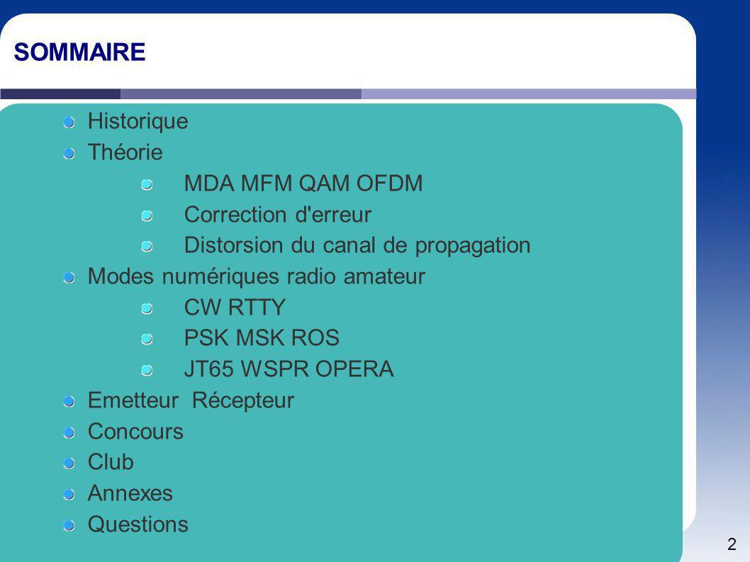 2 SOMMAIRE Historique Théorie MDA MFM QAM OFDM Correction d'erreur Distorsion du canal de propagation Modes numériques radio amateur CW RTTY PSK MSK R