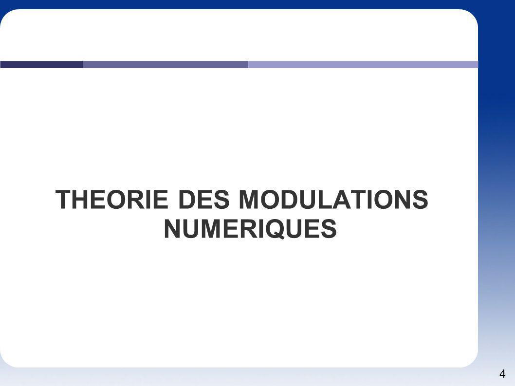5 THEORIE Une modulation numérique possède des états de valeur entière par rapport à la modulation analogique qui elle possède une infinité de valeur.