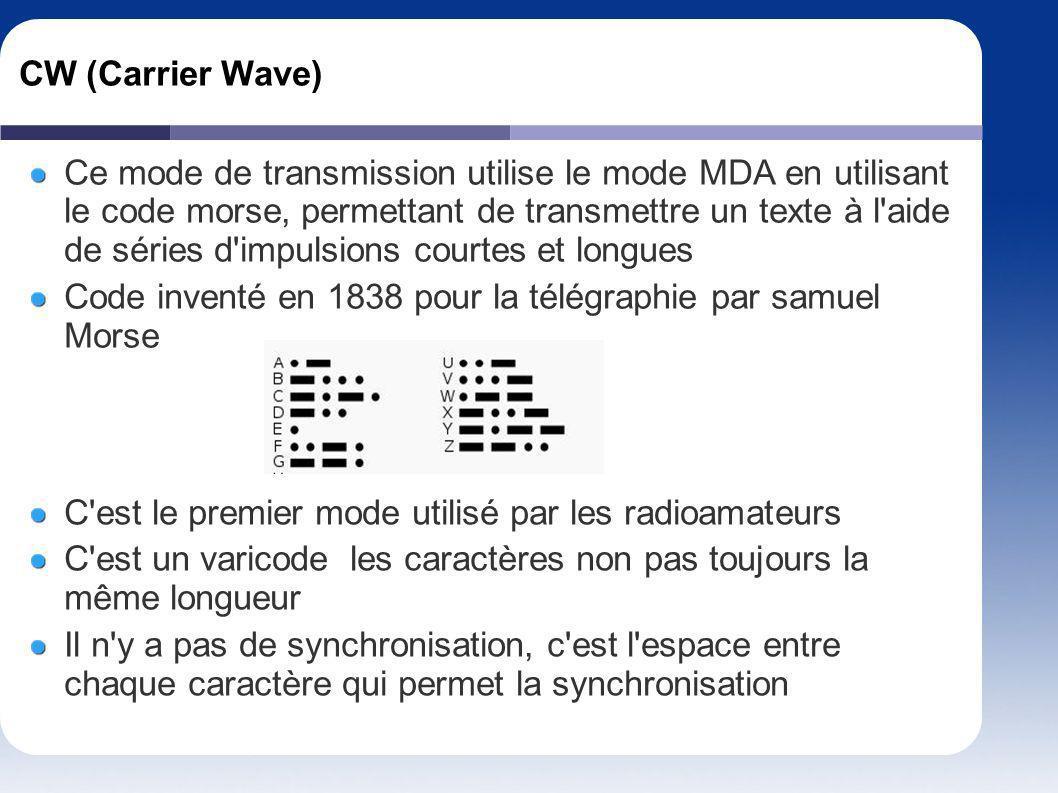 CW (Carrier Wave) Ce mode de transmission utilise le mode MDA en utilisant le code morse, permettant de transmettre un texte à l'aide de séries d'impu