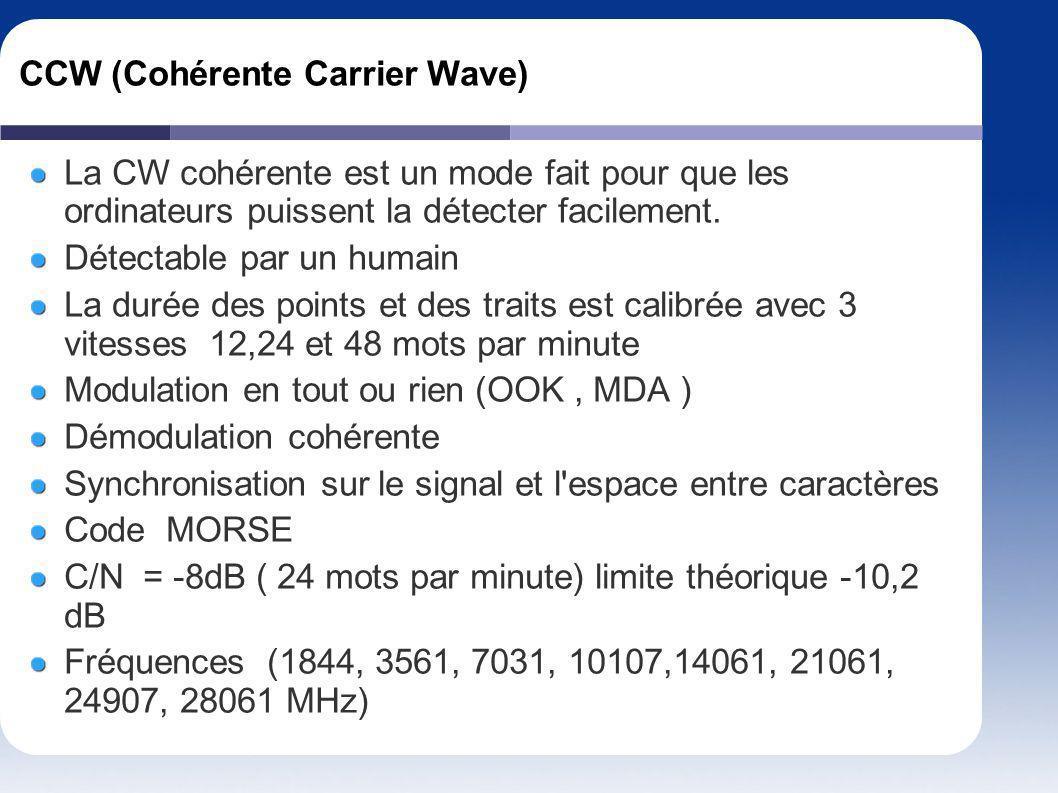 CCW (Cohérente Carrier Wave) La CW cohérente est un mode fait pour que les ordinateurs puissent la détecter facilement. Détectable par un humain La du
