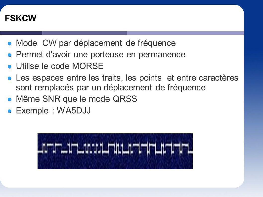 FSKCW Mode CW par déplacement de fréquence Permet d'avoir une porteuse en permanence Utilise le code MORSE Les espaces entre les traits, les points et
