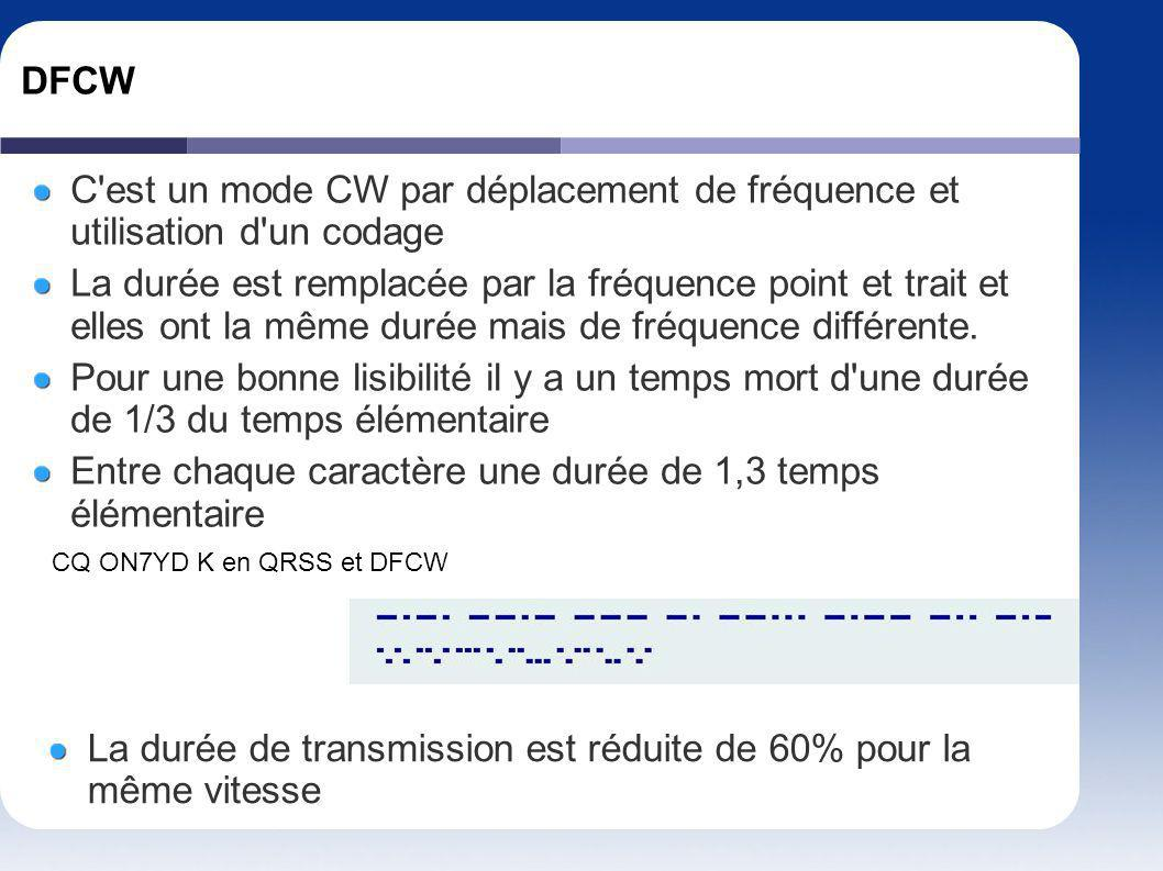 DFCW C'est un mode CW par déplacement de fréquence et utilisation d'un codage La durée est remplacée par la fréquence point et trait et elles ont la m