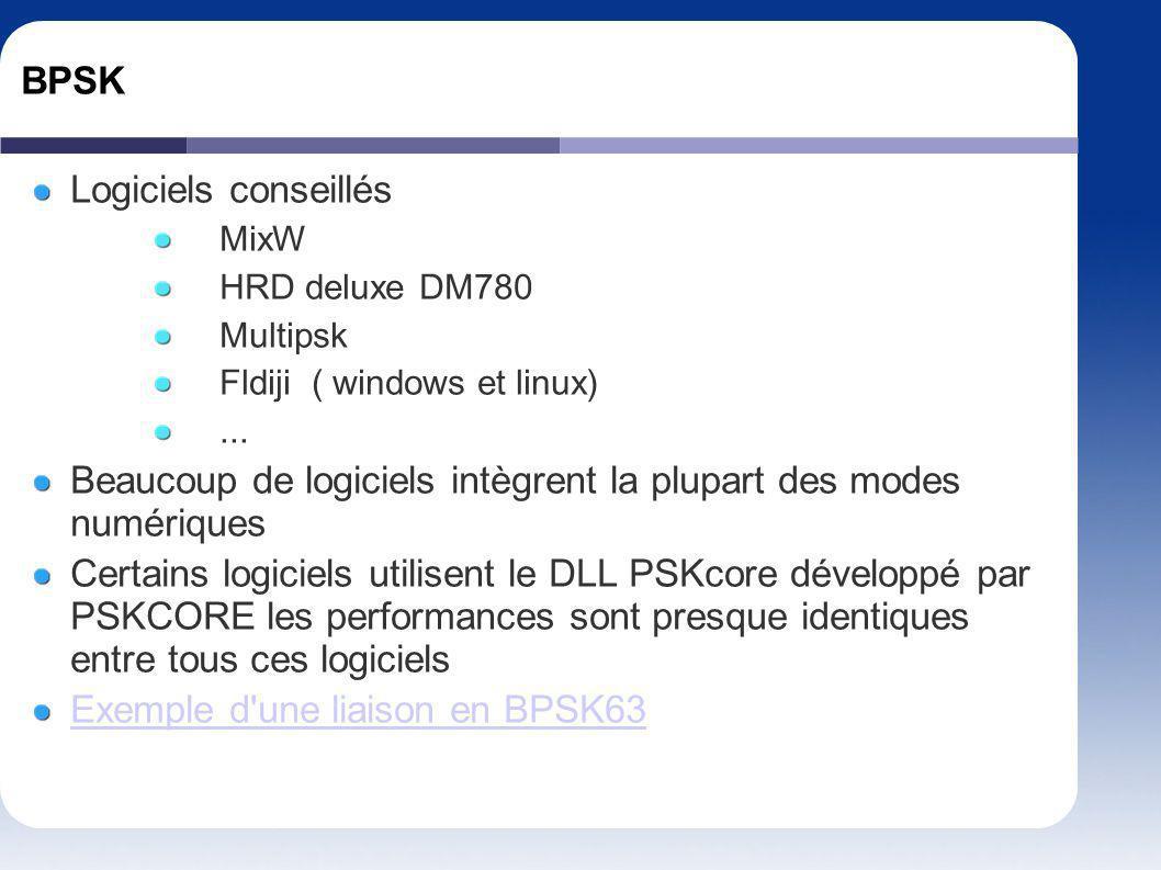 BPSK Logiciels conseillés MixW HRD deluxe DM780 Multipsk Fldiji ( windows et linux)... Beaucoup de logiciels intègrent la plupart des modes numériques