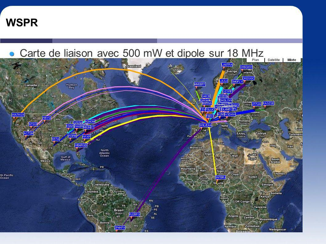 WSPR Carte de liaison avec 500 mW et dipole sur 18 MHz