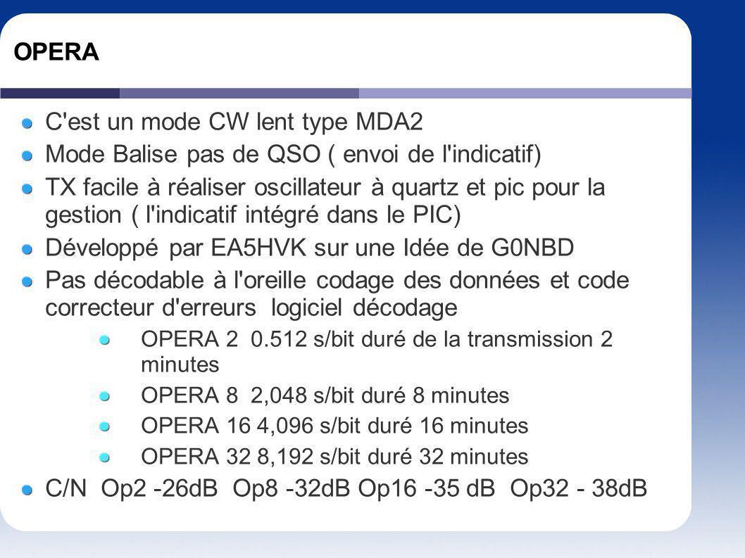 OPERA C'est un mode CW lent type MDA2 Mode Balise pas de QSO ( envoi de l'indicatif) TX facile à réaliser oscillateur à quartz et pic pour la gestion