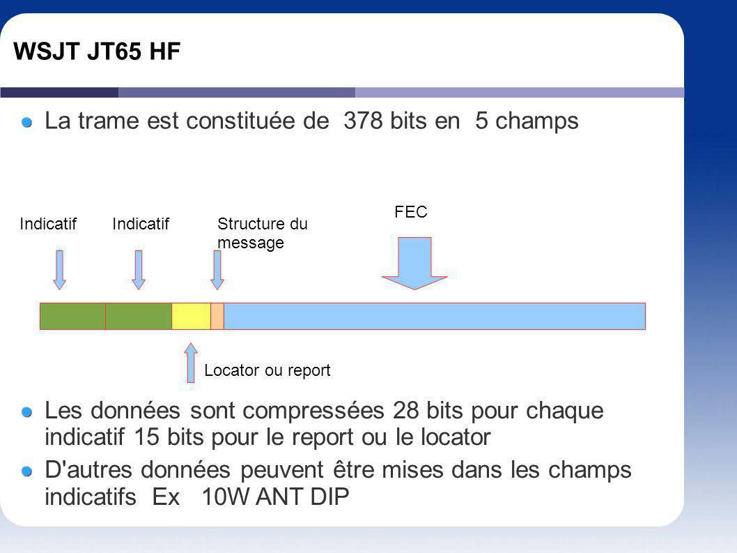 WSJT JT65 HF La trame est constituée de 378 bits en 5 champs Les données sont compressées 28 bits pour chaque indicatif 15 bits pour le report ou le l