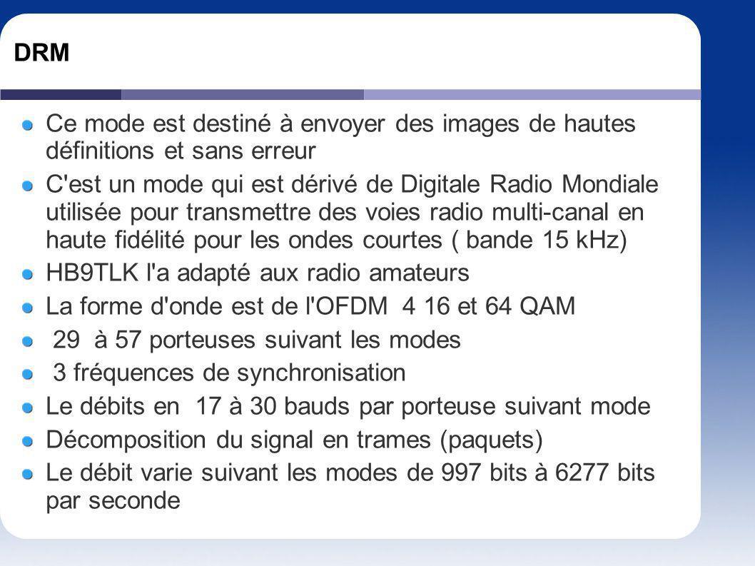 DRM Ce mode est destiné à envoyer des images de hautes définitions et sans erreur C'est un mode qui est dérivé de Digitale Radio Mondiale utilisée pou