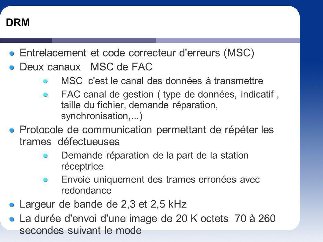 DRM Entrelacement et code correcteur d'erreurs (MSC) Deux canaux MSC de FAC MSC c'est le canal des données à transmettre FAC canal de gestion ( type d
