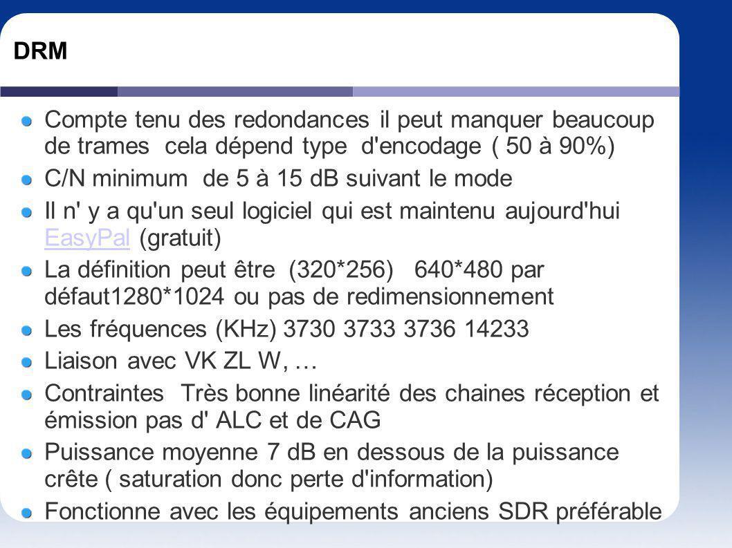 DRM Compte tenu des redondances il peut manquer beaucoup de trames cela dépend type d'encodage ( 50 à 90%) C/N minimum de 5 à 15 dB suivant le mode Il