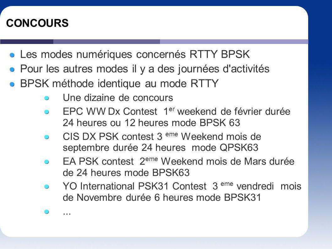 CONCOURS Les modes numériques concernés RTTY BPSK Pour les autres modes il y a des journées d'activités BPSK méthode identique au mode RTTY Une dizain
