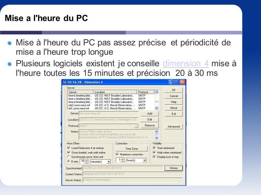 Mise a l'heure du PC Mise à l'heure du PC pas assez précise et périodicité de mise a l'heure trop longue Plusieurs logiciels existent je conseille dim