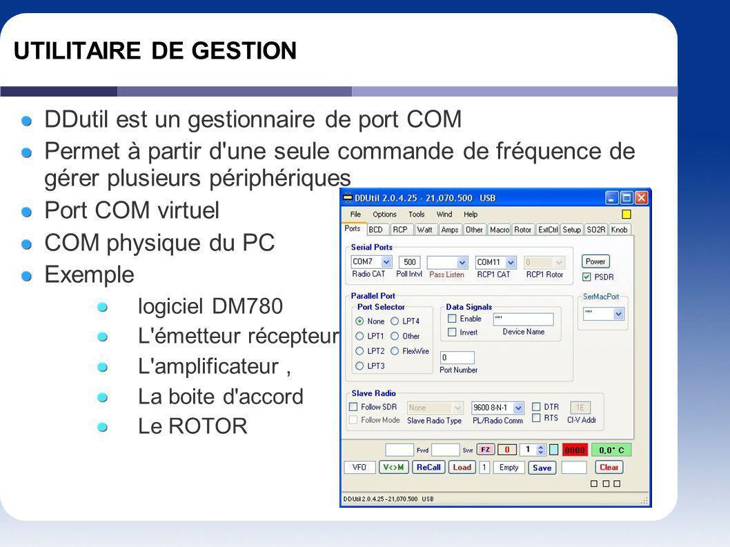 UTILITAIRE DE GESTION DDutil est un gestionnaire de port COM Permet à partir d'une seule commande de fréquence de gérer plusieurs périphériques Port C