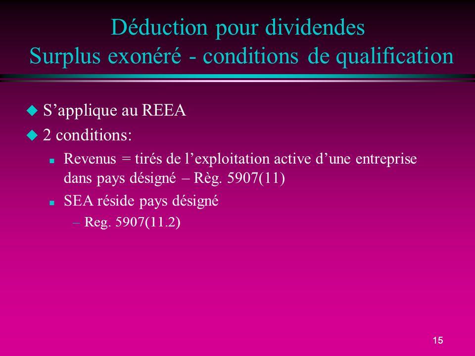 15 Déduction pour dividendes Surplus exonéré - conditions de qualification u Sapplique au REEA u 2 conditions: n Revenus = tirés de lexploitation active dune entreprise dans pays désigné – Règ.