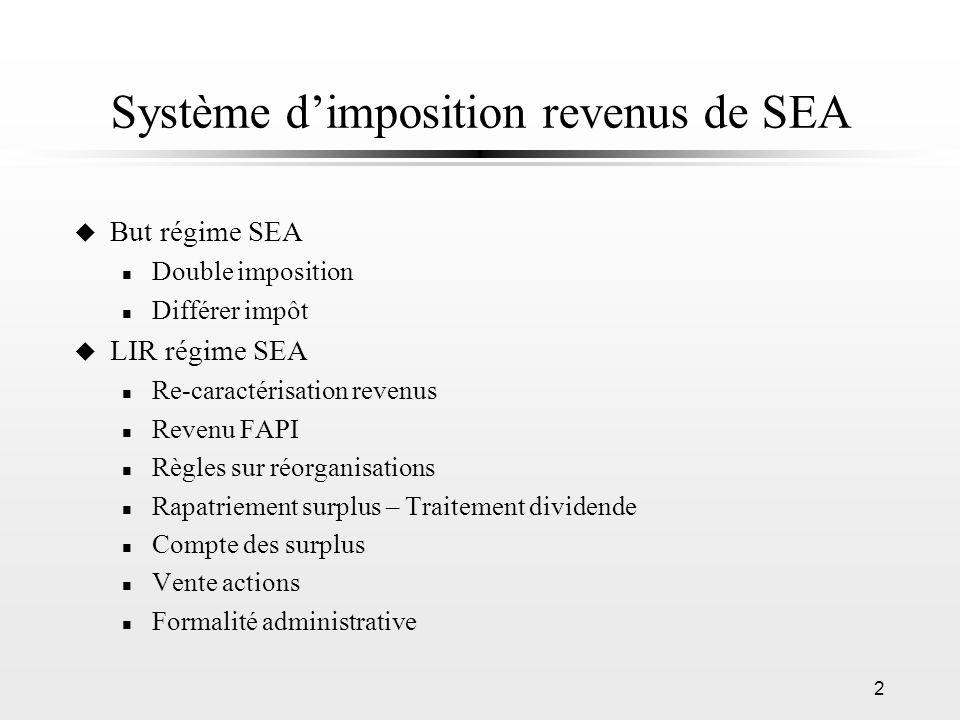 2 Système dimposition revenus de SEA u But régime SEA n Double imposition n Différer impôt u LIR régime SEA n Re-caractérisation revenus n Revenu FAPI