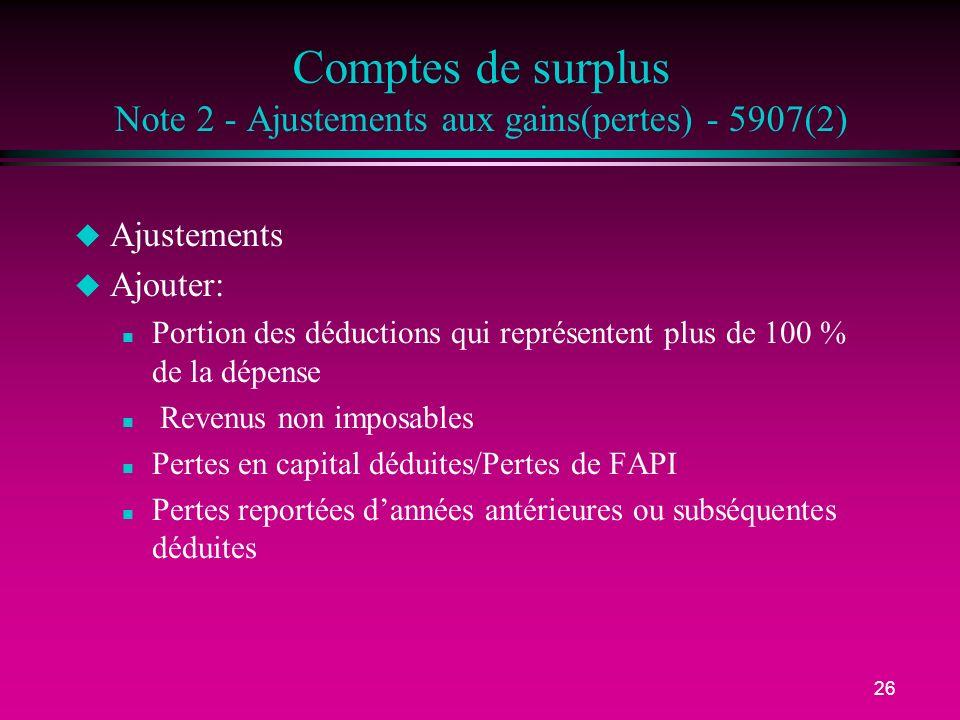 26 Comptes de surplus Note 2 - Ajustements aux gains(pertes) - 5907(2) u Ajustements u Ajouter: n Portion des déductions qui représentent plus de 100
