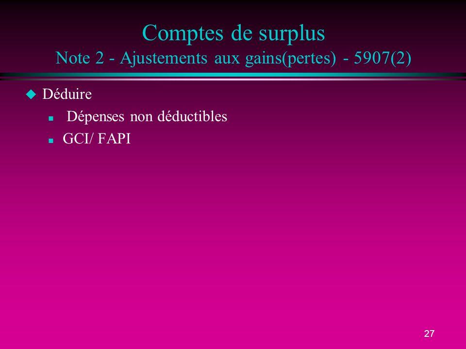 27 Comptes de surplus Note 2 - Ajustements aux gains(pertes) - 5907(2) u Déduire n Dépenses non déductibles n GCI/ FAPI