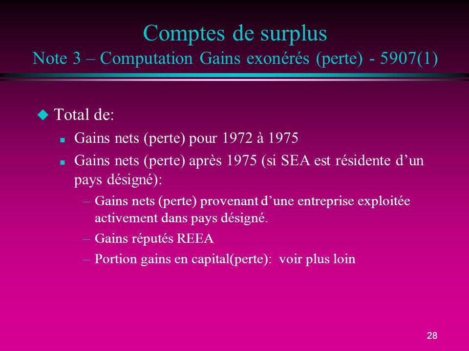 28 Comptes de surplus Note 3 – Computation Gains exonérés (perte) - 5907(1) u Total de: n Gains nets (perte) pour 1972 à 1975 n Gains nets (perte) après 1975 (si SEA est résidente dun pays désigné): –Gains nets (perte) provenant dune entreprise exploitée activement dans pays désigné.