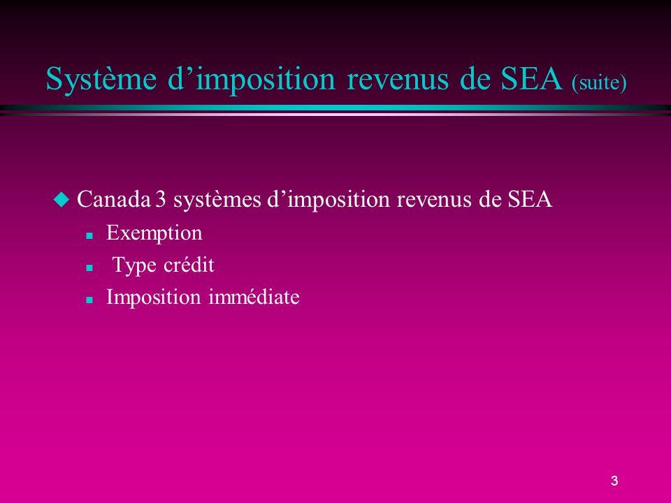 3 Système dimposition revenus de SEA (suite) u Canada 3 systèmes dimposition revenus de SEA n Exemption n Type crédit n Imposition immédiate