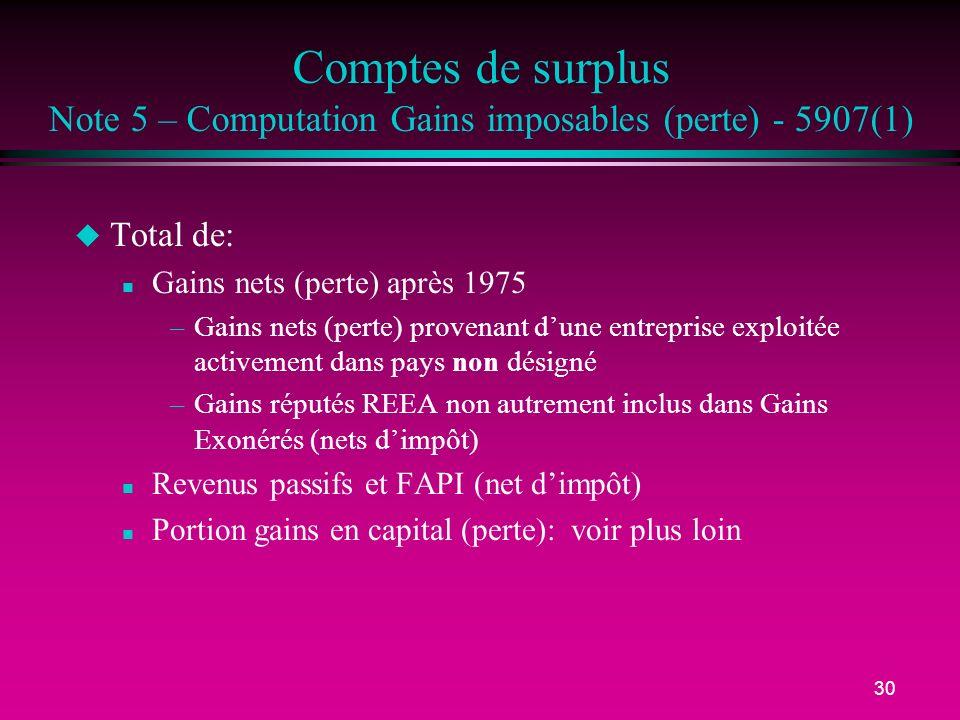 30 Comptes de surplus Note 5 – Computation Gains imposables (perte) - 5907(1) u Total de: n Gains nets (perte) après 1975 –Gains nets (perte) provenan
