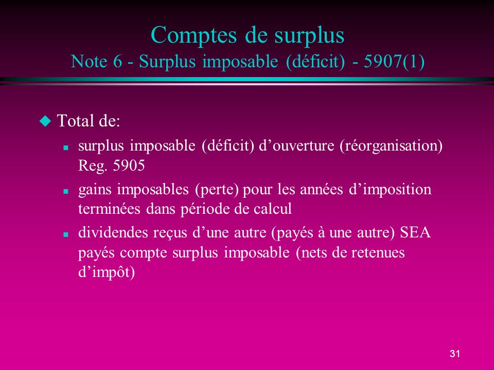 31 Comptes de surplus Note 6 - Surplus imposable (déficit) - 5907(1) u Total de: n surplus imposable (déficit) douverture (réorganisation) Reg.