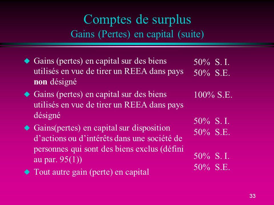 33 Comptes de surplus Gains (Pertes) en capital (suite) u Gains (pertes) en capital sur des biens utilisés en vue de tirer un REEA dans pays non désig