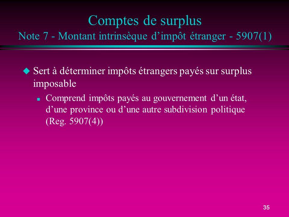35 Comptes de surplus Note 7 - Montant intrinsèque dimpôt étranger - 5907(1) u Sert à déterminer impôts étrangers payés sur surplus imposable n Compre