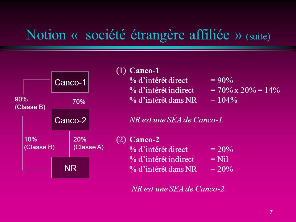 7 Notion « société étrangère affiliée » (suite) (1)Canco-1 % dintérêt direct = 90% % dintérêt indirect = 70% x 20% = 14% % dintérêt dans NR= 104% NR est une SÉA de Canco-1.