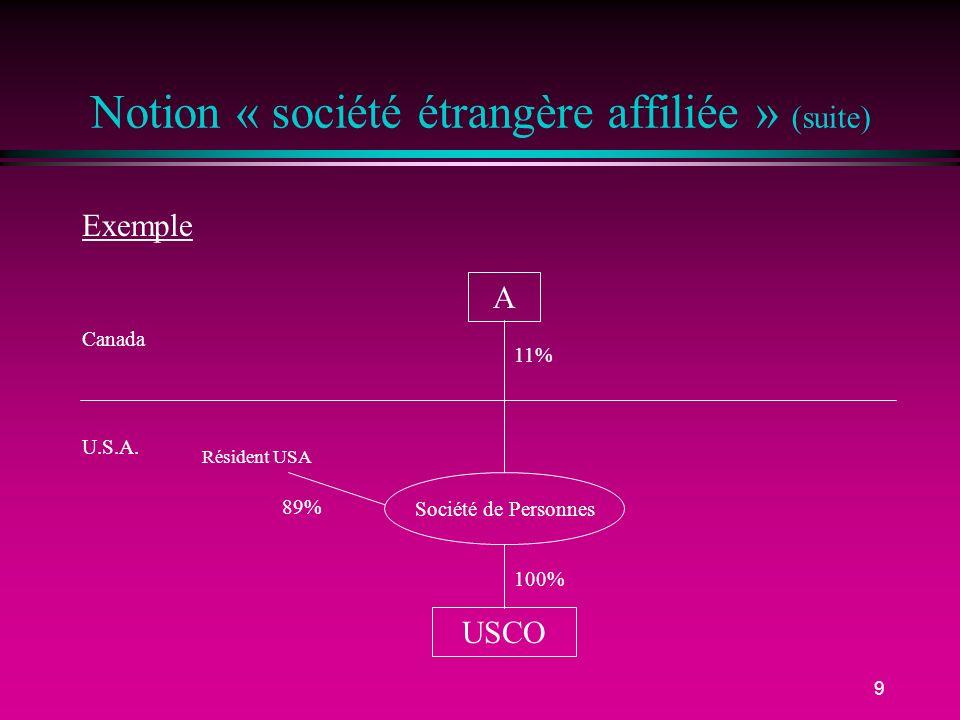 9 Notion « société étrangère affiliée » (suite) Canada U.S.A. Exemple A USCO Société de Personnes 100% 11% Résident USA 89%