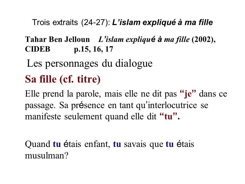 Trois extraits (24-27): Lislam expliqué à ma fille Tahar Ben JellounL islam expliqu é à ma fille (2002), CIDEBp.15, 16, 17 Les personnages du dialogue Sa fille (cf.