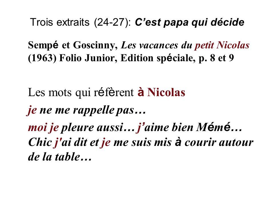 Trois extraits (24-27): Lislam expliqué à ma fille Tahar Ben JellounL islam expliqu é à ma fille (2002), CIDEBp.15, 16, 17 Le dialogue dans le dialogue (r é cit) Le p è re de l auteur-narrateur: mon p è re, il nous a r é unis, sa main … Mes fils … je vous laisse r é fl é chir … J ai fait mon devoir, … Voil à, mes fils, …