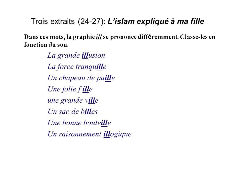 Trois extraits (24-27): Lislam expliqué à ma fille Dans ces mots, la graphie ill se prononce diff é remment.