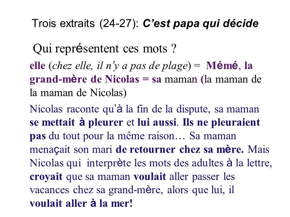 Trois extraits (24-27): Cest papa qui décide Qui repr é sentent ces mots .