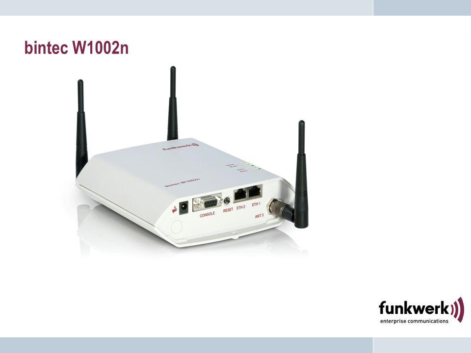 Connecteurs bintec W1002n ANT1 pour une antenne directionnelle en option ANT3 12V Alimentation SérieReset ETH1 PoE ETH2 ANT2 pour une seconde antenne directionnelle en option