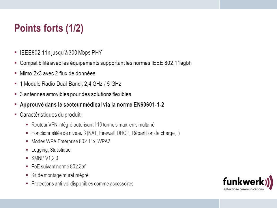 Points forts (1/2) IEEE802.11n jusquà 300 Mbps PHY Compatibilité avec les équipements supportant les normes IEEE 802.11agbh Mimo 2x3 avec 2 flux de do