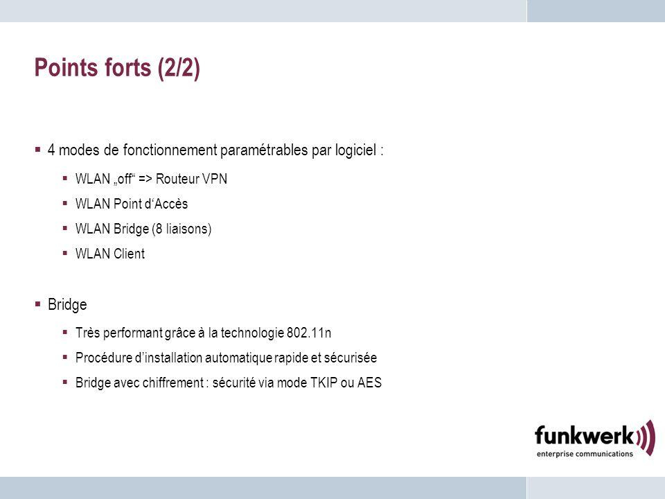 Points forts (2/2) 4 modes de fonctionnement paramétrables par logiciel : WLAN off => Routeur VPN WLAN Point dAccès WLAN Bridge (8 liaisons) WLAN Clie