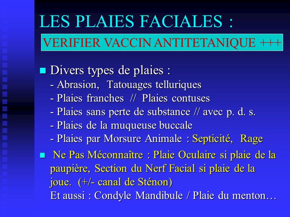 LES PLAIES FACIALES : Divers types de plaies : - Abrasion, Tatouages telluriques - Plaies franches // Plaies contuses - Plaies sans perte de substance