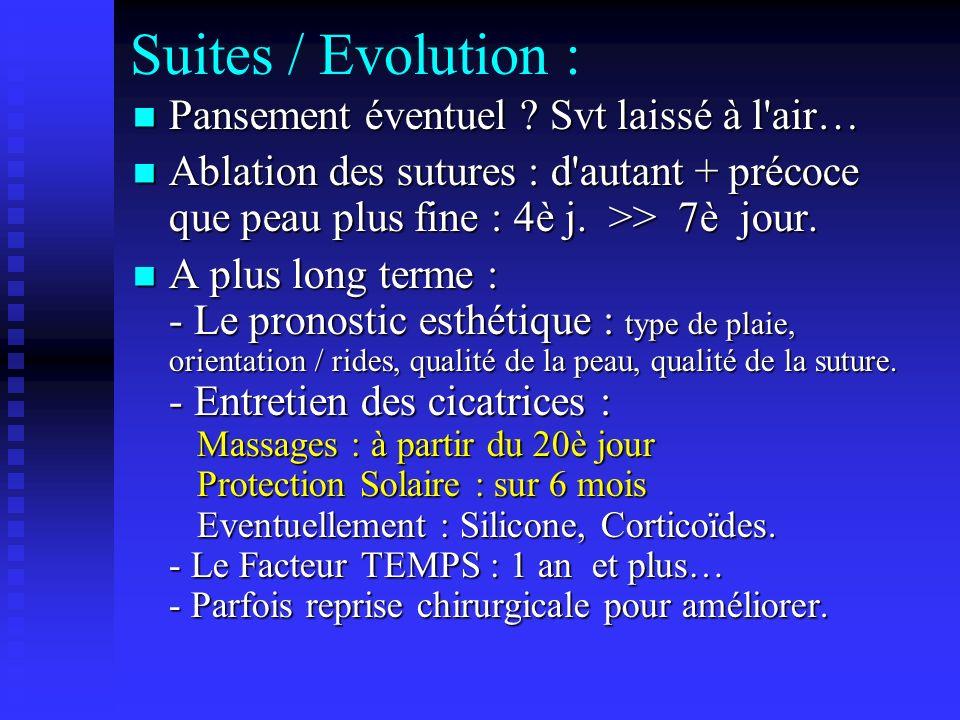 Suites / Evolution : Pansement éventuel ? Svt laissé à l'air… Pansement éventuel ? Svt laissé à l'air… Ablation des sutures : d'autant + précoce que p