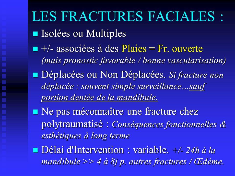 LES FRACTURES FACIALES : Isolées ou Multiples Isolées ou Multiples +/- associées à des Plaies = Fr. ouverte (mais pronostic favorable / bonne vascular