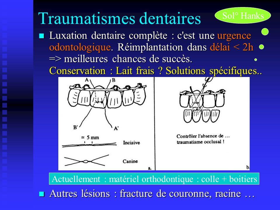 Traumatismes dentaires Luxation dentaire complète : c'est une urgence odontologique. Réimplantation dans délai meilleures chances de succès. Conservat