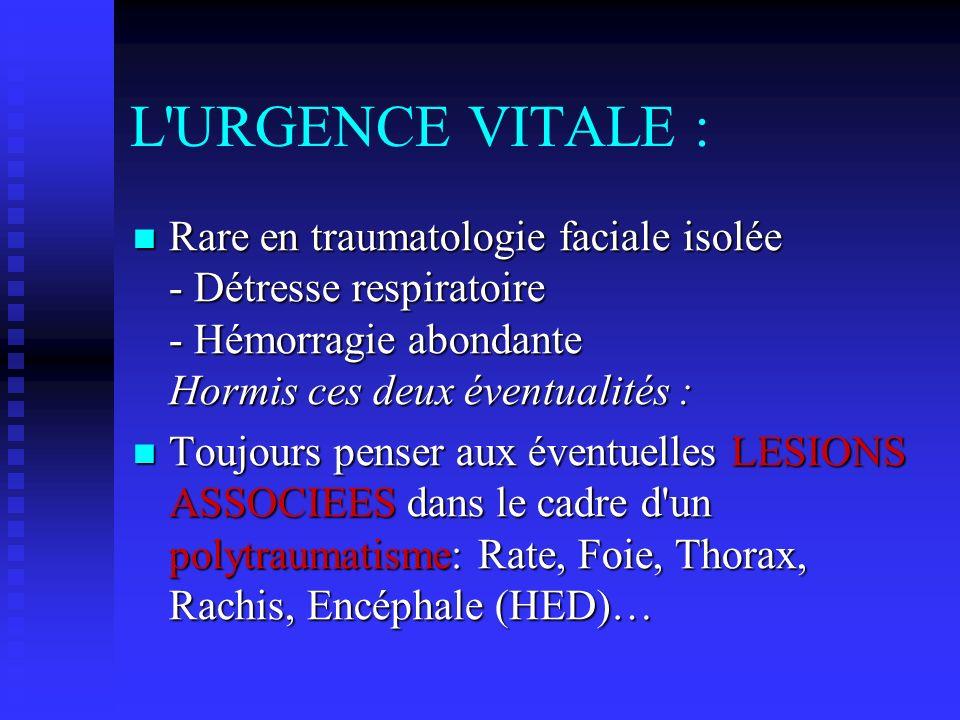 L'URGENCE VITALE : Rare en traumatologie faciale isolée - Détresse respiratoire - Hémorragie abondante Hormis ces deux éventualités : Rare en traumato