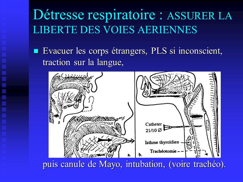 Détresse respiratoire : ASSURER LA LIBERTE DES VOIES AERIENNES Evacuer les corps étrangers, PLS si inconscient, traction sur la langue, puis canule de